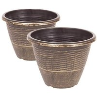 "Pair 13"" Wicker effect Black Gold Planters"