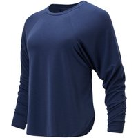 Image of Womens New Balance Evolve Side Slit Long Sleeve - Natural Indigo, Natural Indigo