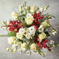 White Amaryllis & Ilex Bouquet White