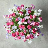 Large Roses & British Sweet Peas Bouquet Pink