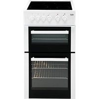 500mm Double Electric Cooker Ceramic Hob White