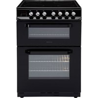 600mm Double Electric Cooker Ceramic Hob Black