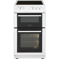500mm Double Electric Cooker Ceramic Hob Fanned White