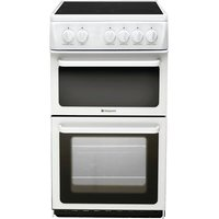 500mm Twin Cavity Electric Oven Ceramic Hob White