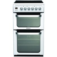 500mm Double Electric Cooker Ceramic Hob Prog Polar Whi