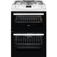 600mm Dual Fuel Double Electric Oven Gas Hob White