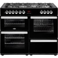 1100mm Dual Fuel Range Cooker 7 Burners Inc WOK Black