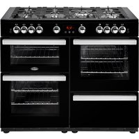 1100mm Gas Range Cooker 7 Burners Inc WOK Black