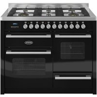1100mm Twin Dual Fuel Range Cooker Gas Hob Black