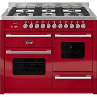 1100mm Twin Dual Fuel Range Cooker Gas Hob Red