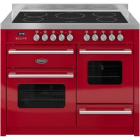 1100mm Twin Electric Range Cooker Induction Hob Red
