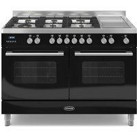 1200mm Twin Dual Fuel Range Cooker Gas Hob Black