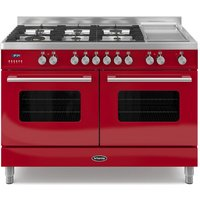 1200mm Twin Dual Fuel Range Cooker Gas Hob Red