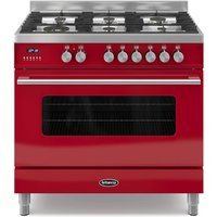 900mm Single Dual Fuel Range Cooker Gas Hob Red
