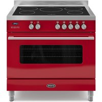 900mm Single Electric Range Cooker Induction Hob Red