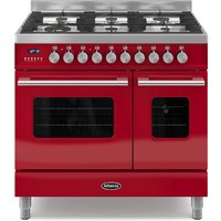 900mm Twin Dual Fuel Range Cooker Gas Hob Red