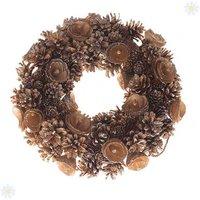 Gold Glitter & Cone Everlasting Wreath 30cm