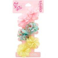 Kids 6 Pack Garden Party Chiffon Flower Hair Clips - Garden Gifts