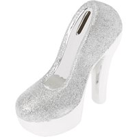 Silver Coloured Glittered Heeled Shoe Piggy Bank - Piggy Bank Gifts