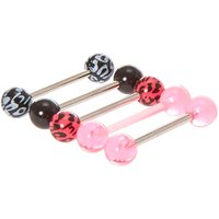 Leopard Print Barbell Tongue Rings - Leopard Print Gifts