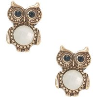 Gold Owls with Gem Bellies Stud Earrings - Owls Gifts