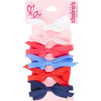 Kids 6 Pack Large Looped Fabric Bows Hair Clips - Bows Gifts