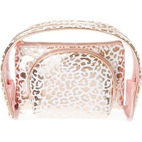 Rose Gold Leopard Print Cosmetic Bag Trio - Leopard Print Gifts