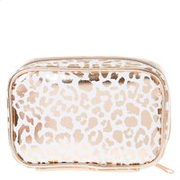 Rose Gold Leopard Print Small Rectangular  Cosmetic Bag - Leopard Print Gifts