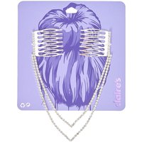 Silver-tone Double Chain Peaked Faux Crystal Decorative Hair Swag - One Direction Gifts
