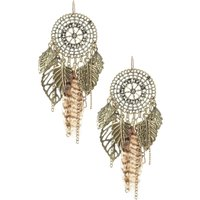 Leopard Print Feather Dreamcatcher Drop Earrings - Leopard Print Gifts