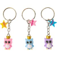 3 Pack Best Friends Fuzzy Owls Keyrings - Owls Gifts