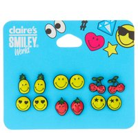6 Pack Smiley World Stud Earrings - Smiley Gifts