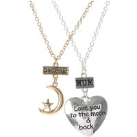 Mom & Daughter Love You to the Moon & Back Necklace Set - Daughter Gifts