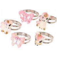 Kids Butterflies & Unicorns Glitter Rings - Unicorns Gifts