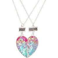 Best Friend Ombre Star Glitter Split Heart Necklaces - Best Friend Gifts