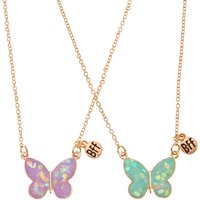 Best Friend Rose Gold Holographic Glitter Butterfly Necklaces - Best Friend Gifts