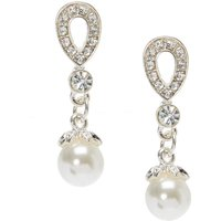 Crystal Tear Drop Pearl Earrings - Onesie Gifts