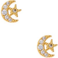 18kt Gold Plated Cubic Zirconia Moon & Star Stud Earrings - Hello Kitty Gifts
