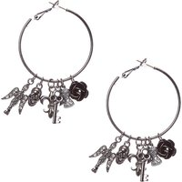 Black Hoop with Gothic Charm Earrings - Spider Gifts