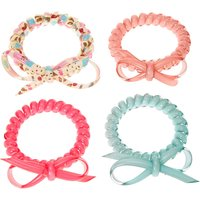 4 Pack Coil Stretch Bracelets with Bows - Bows Gifts