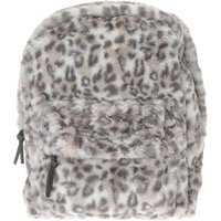 Grey Leopard Print Fur Backpack - Leopard Print Gifts