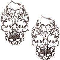 Hematite Skeleton Hoop Earrings - Bowling Gifts