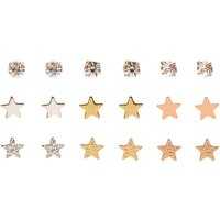 9 Pack Mixed Metal Stars & Clear Faux Crystal Stud Earrings - Stars Gifts