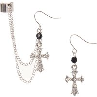 Silver-tone Gothic Cross Chain Ear Cuff and Drop Earring Set - Gothic Gifts