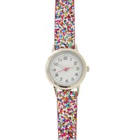 skinny rainbow glitter watch