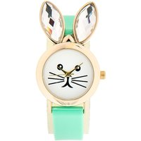mint green bunny crystal ear watch