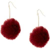Burgundy Pom Pom Drop Earrings - Jewellery Gifts