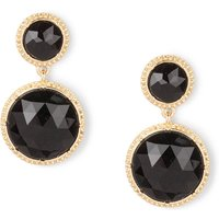 Gold Framed Round Black Shiny Stone Drop Earrings - Shiny Gifts