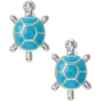 Silver and Turquoise Turtle Stud Earrings - Turtle Gifts