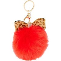 Leopard Print Bow & Fluffy Red Pom Pom Keychain - Fluffy Gifts